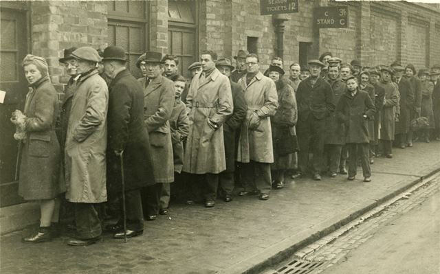Queueing for Derby County match tickets