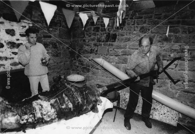 Preparing the hog roast, Fritchley Festival
