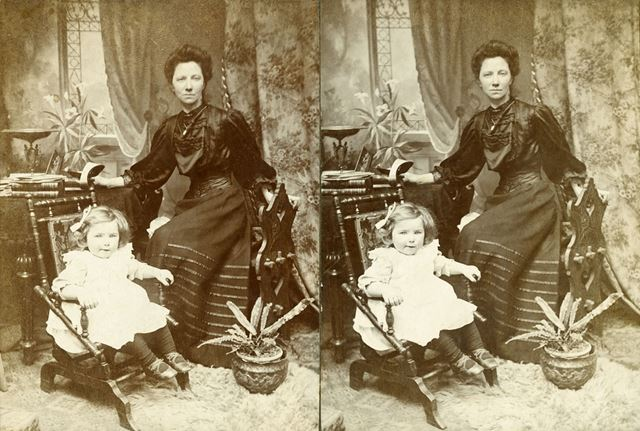 Woman and child - believed to be Mrs H P Hansen and daughter