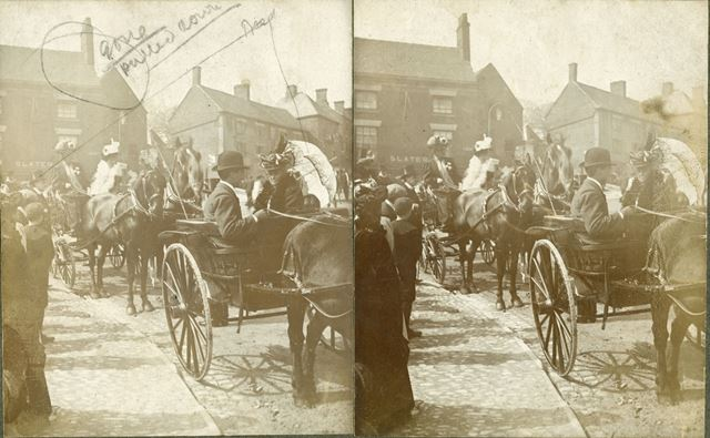 Carriages in front of Slater's shop at bottom of Buxton Road