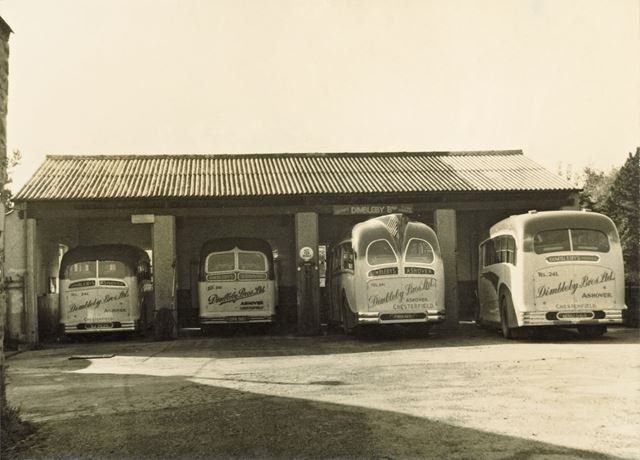 Four of Dimbleby's Buses in the Garage, Ashover, 1952
