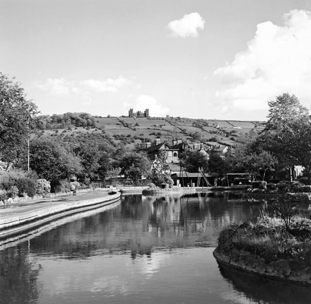 Hall Leys Park with Riber Castle in the distance, Matlock, September 1997