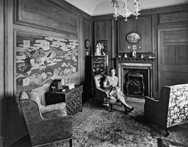Thornbridge Hall interior with Miss Mary Boot, Great Longstone, c 1930