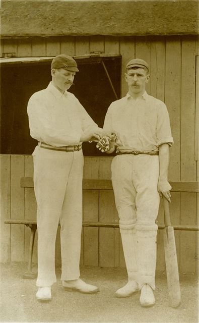 Two Cricket Captains, possibly in Clay Cross or Pilsey, early 20th century