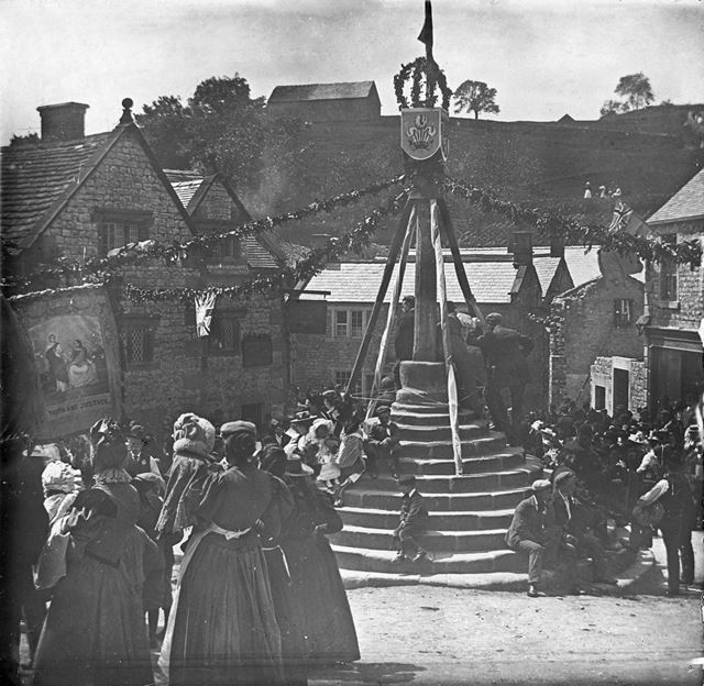 Celebrations at Market Cross, Bonsall, c 1900