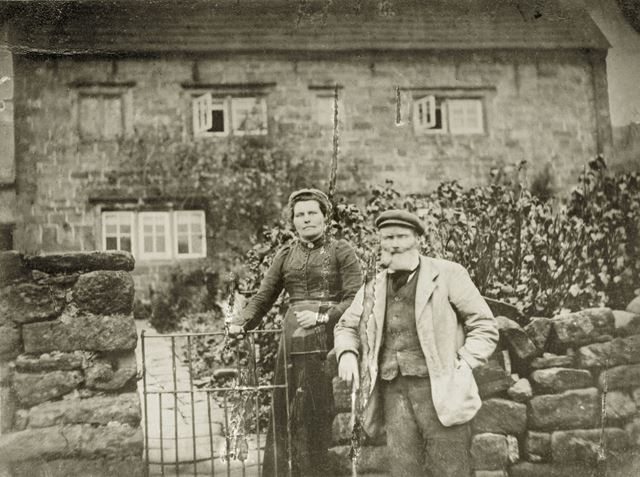 John Birks and his daughter Polly Brocklehurst, Knott Cross Farm, Milltown, Ashover, 1905