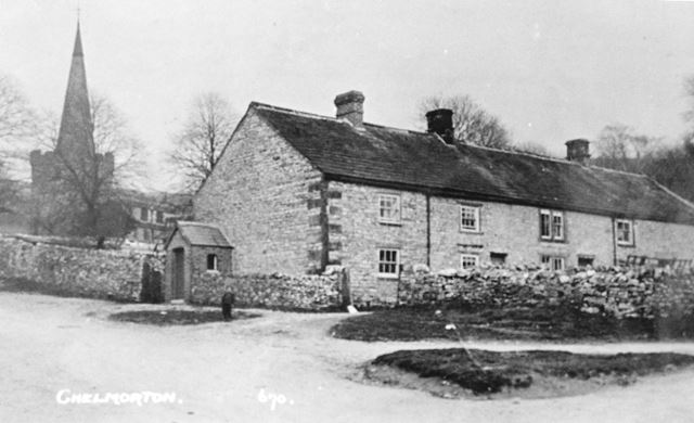 Cliffhouse Farm and St John's Church, Chelmorton, c 1920