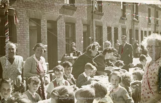 V J Day celebrations, Vale Street, off Pear Tree Road, Normanton, Derby, 1945