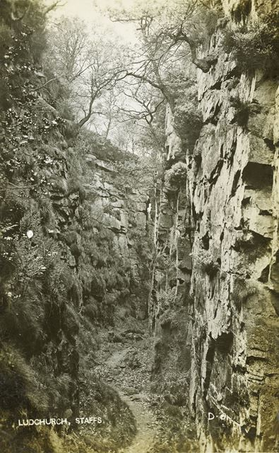 Lud's Church, nr Gradbach, Staffordshire, c 1920s ?