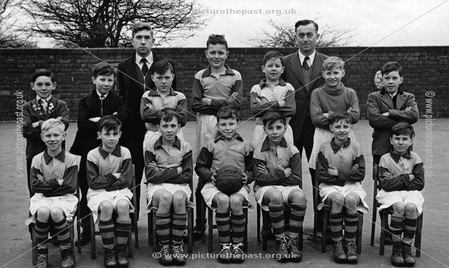 Football Team, North WIngfield Junior School, Chesterfield Road, North Wingfield, c 1950s?