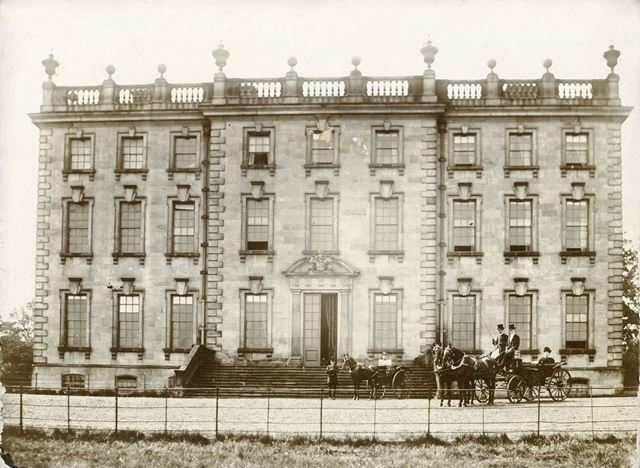 East Front of Wingerworth Hall and Mrs Hunloke, Wingerworth, c 1890