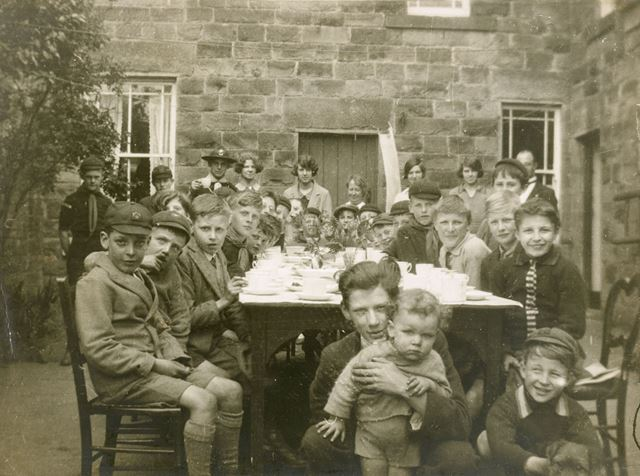 Scouts' Tea Party, Yew Tree Close, Ashover, c 1930