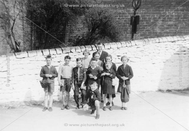 Children outside House , Plaistow Green, Crich, 1950s