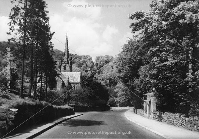 Smithy Printing Works and Holy Trinity Church, A6, Matlock Bath, 1960s