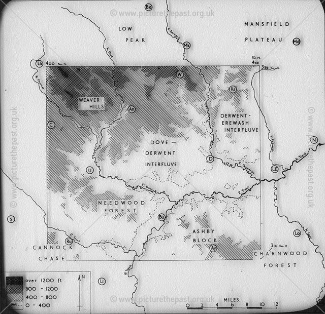 Derwent Map with Physical, Derbyshire, c 1930