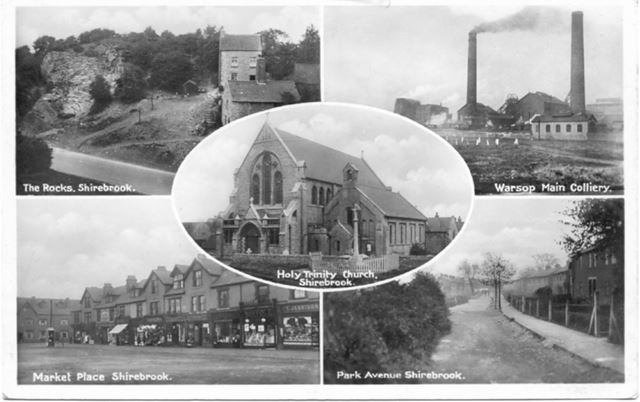 5 Views of Shirebrook: The Rocks, Market Place, Park Avenue, Holy Trinity Church and Warsop Colliery