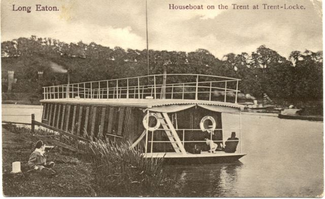Merry Maid' Houseboat on the Trent, Long Eaton, c 1900s
