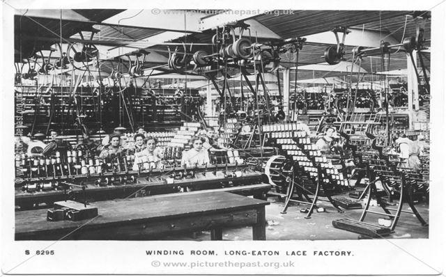 Winding Room, Lace Factory, Long Eaton , c 1910-15