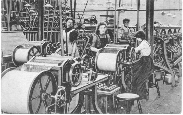 Showing Brass Bobbin Winding Machinery, Unknown Lace factory, Long Eaton, c 1900s