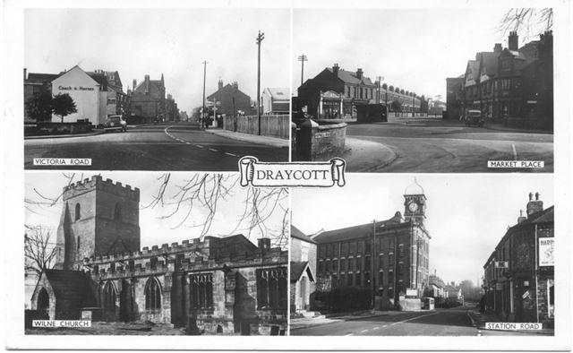 Four views - Victoria Road, Market Place, Wilne Church, Station Road.