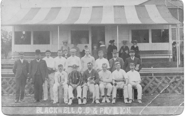 Blackwell Cricket Club Team and pavilion