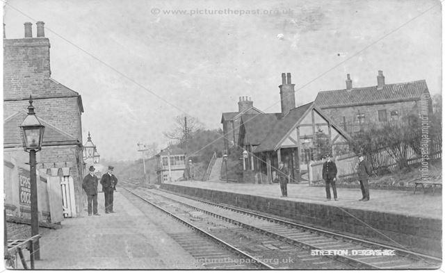 Stretton Railway Station, line, platforms and staff