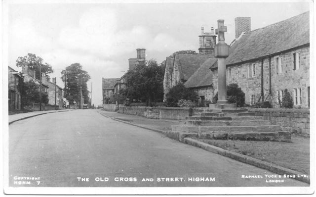 Old cross and street Higham