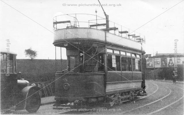 Southbound tram (No.8) approaching LNER overbridge, Cotmanhay Road, Ilkeston, 1920s