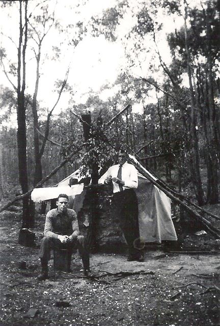 Lawrence Moore from Sutto in Ashfield, Gold prospecting with a friend in Australia, 1932