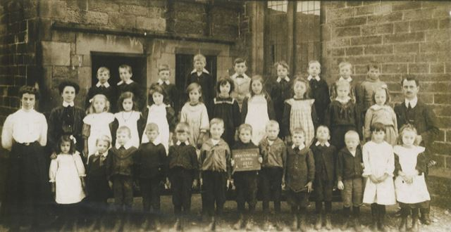 Children Outside the School Posed with their Teachers, Brackenfield School, Brackenfield, 1910
