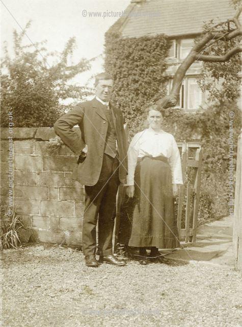 Mr and Mrs William Hardwick, Road Nook Farm, Brackenfield, c 1924