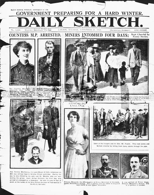 Daily Sketch front page, with pictures of coal miners who rescued those trapped in a fall at Holmewo