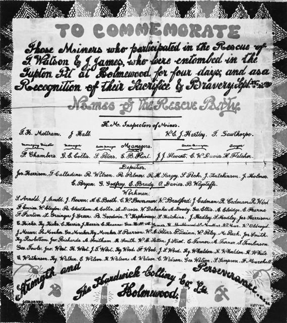 Commemorative Certificate of coal miners who rescued those trapped in a fall at Holmewood (Hardwick)