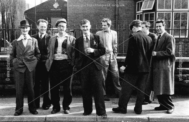 Group of men outside Holmewood Miners Welfare