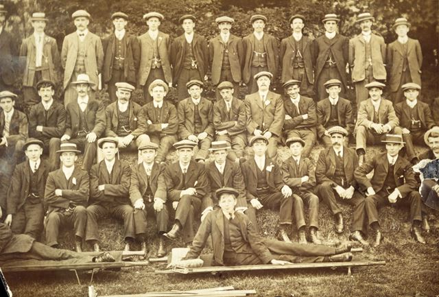 Group of unidentified men and boys, Heath, c 1910