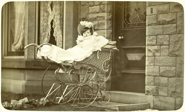 Mary Milner as a baby in her pram, 'Lyndhurst', Green Lane, Dronfield, c 1900