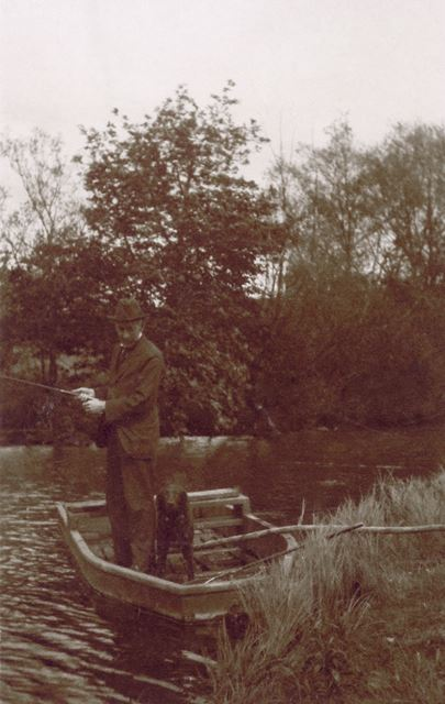 Dr Josiah Court of Staveley, fishing, c 1900?
