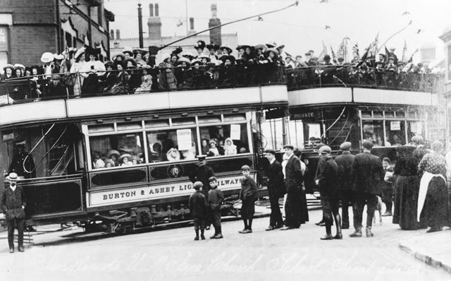 Swadlincote United Methodist Free Church treat on Burton and Ashby Light Railway Trams