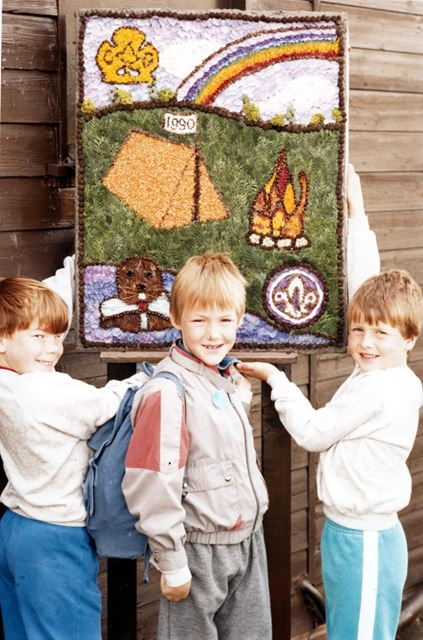 Well Dressing and Beaver Scouts, Chellaston, Derby, 1990