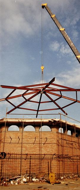 New Steel roof being placed on Normanton Church