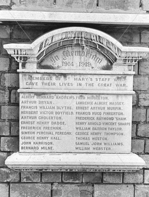 War Memorial Plaque WW1