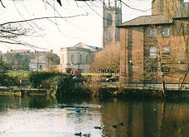 Derby Cathedral and Industrial Museum (Silk Mill) from the River Derwent