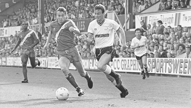 Mike Forsyth, Derby County FC (1986-95) in Match against Crsytal Palace, Derby, 1986