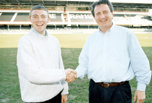 Chris Boden - Derby County Football Club full back, with Roy McFarland, Derby, 1995