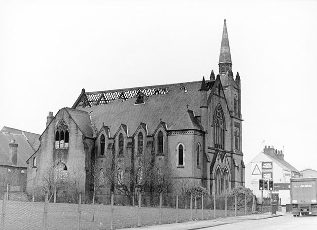 Ashbourne Road Methodist Church after a fire