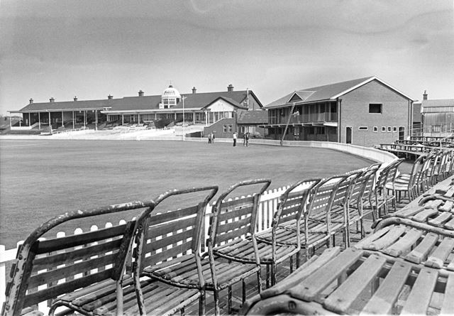 The old Pavilion and new Pavilion at Derbyshire's County Cricket ground