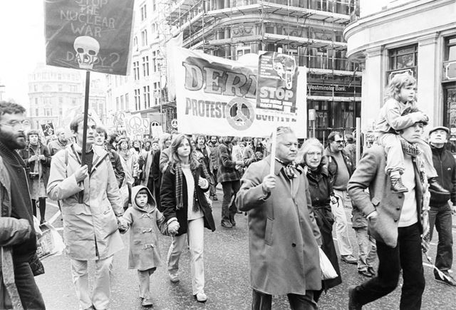 Derby CND group at a National Rally for Nuclear Disarmament, London. 1981