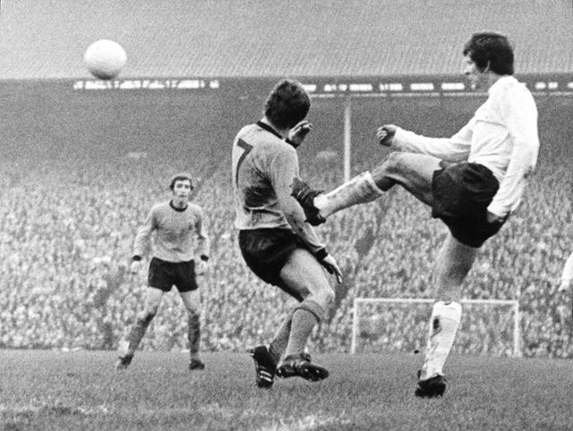 Rams right-back Ron Webster Clears the Ball at Wolves, Wolverhampton, 1971