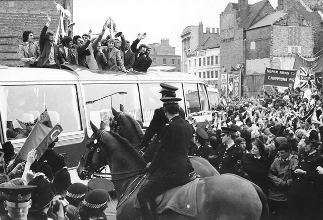 Rams Players Parade the League Championship Trophy Through Derby, 1972