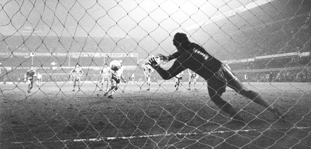 Derby County's Archie Gemmill scores from the penalty spot